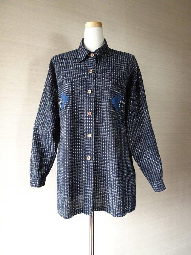 手織り久留米絣:手ざわり抜群のシャツ・ブラウス(W-40)の画像1枚目