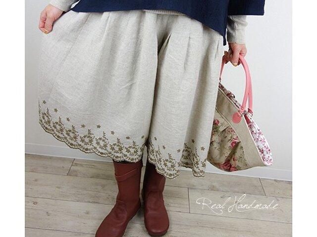 [予約販売] リネンスカラップブラウン刺繍タックパンツの画像1枚目