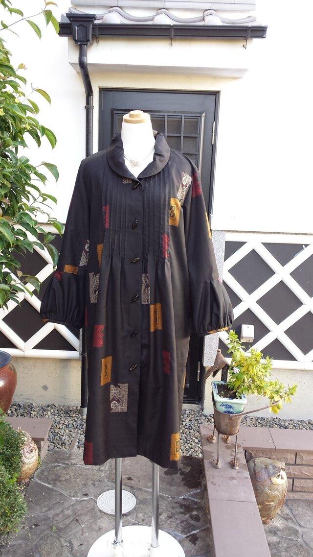 着物リメイク 泥大島 珍しい柄 コートドレスの画像1枚目