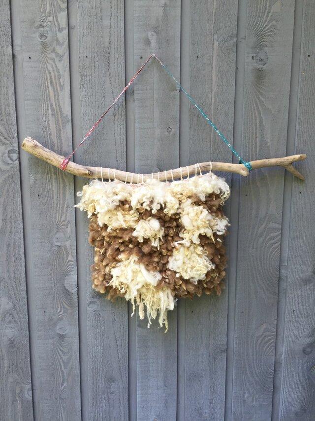 モフモフ羊毛と流木のウォールハンギングの画像1枚目