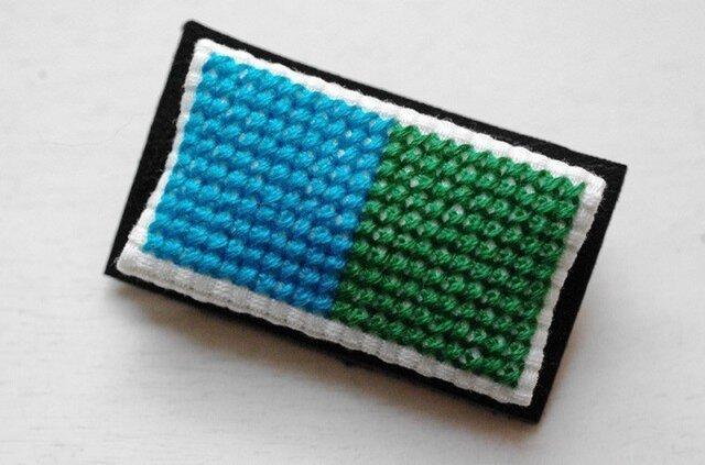 四角x2のブローチ / 青x緑の画像1枚目