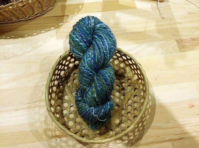 オーダー受付 送料無料 シルクメリノ高級手紡ぎ毛糸 青緑系ミックスの画像1枚目