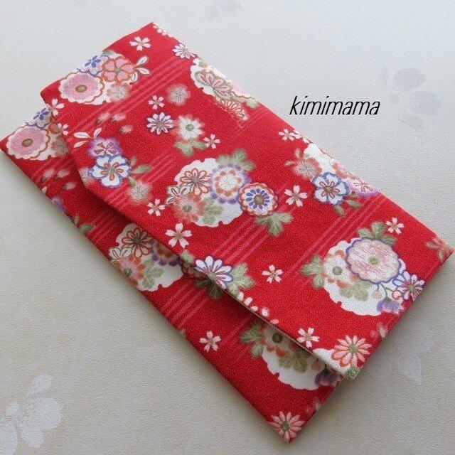 袱紗(ふくさ) 和調木綿(花柄 ×ジャガード桜文様・アイボリー)の画像1枚目