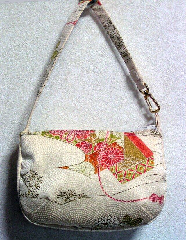 絹 ワンハンドルポーチバッグ 小紋リメイク おしゃれトートバッグの画像1枚目
