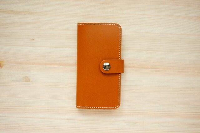牛革 iPhone 手帳型 ヌメ革 キャメル(SE2/ XS/X/8/8Plus/7/7Plus/SE/6/6s)の画像1枚目