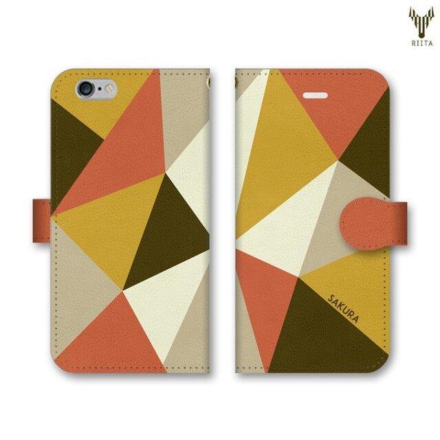 手帳型 三角 模様のスマホケース トライアングル オレンジ×カーキ×からし×ベージュの画像1枚目