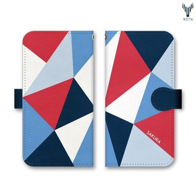 手帳型 三角 模様のiPhoneケース トライアングル トリコロールの画像1枚目