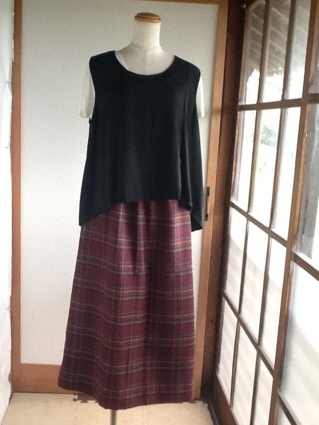紫のあったかロングギャザースカートの画像1枚目
