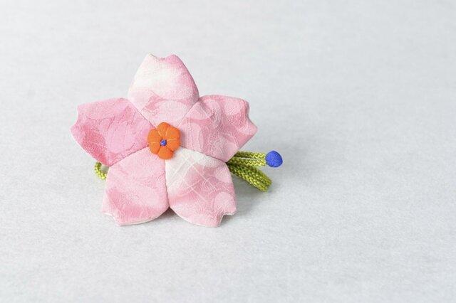 小さな巾着袋/みこ花「さくら色」(花軸色:だいだい) mi-6a/リメイク着物 sold outの画像1枚目