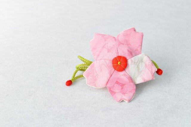 小さな巾着袋/みこ花「さくら色」(花軸色:赤) mi-6b/リメイク着物  売切れの画像1枚目