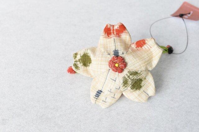 小さな巾着袋/みこ花「絣」(花軸色:赤ドット)mi-5a/リメイク着物の画像1枚目