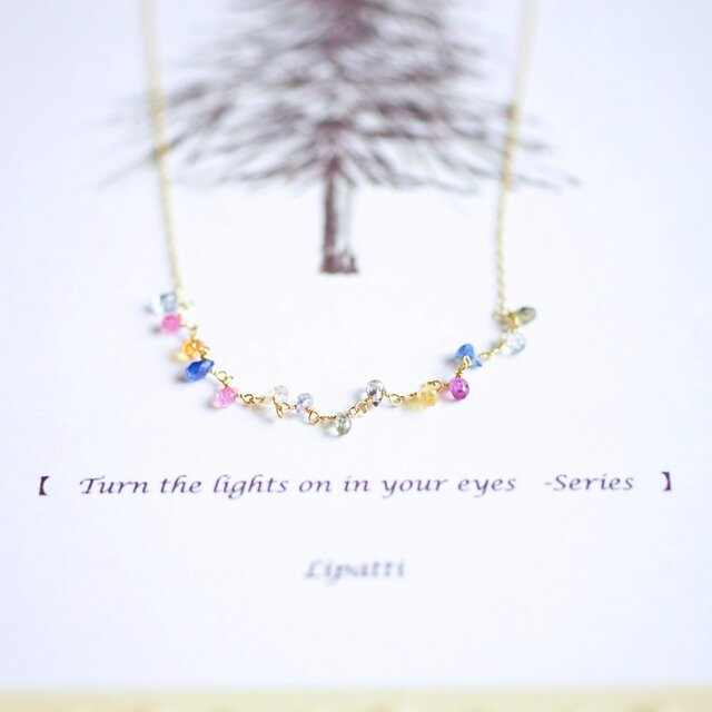 K18マルチカラーサファイアのネックレス ~Emiliaの画像1枚目