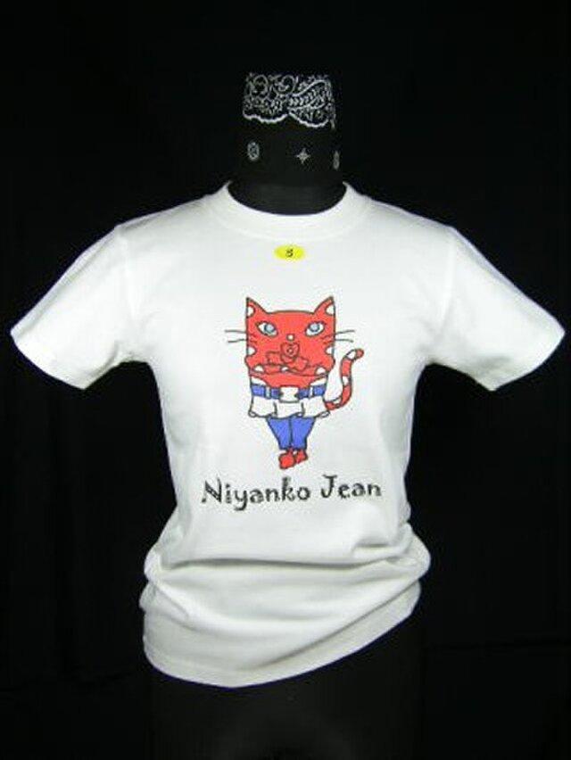 ★★巻きスカートにジーンズの★赤い猫のTシャツ・新品★★の画像1枚目