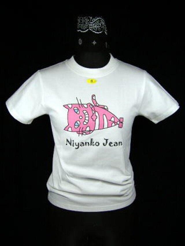 ★オリジナルデザイン★ピンクの寝てる猫のTシャツ・新品★の画像1枚目