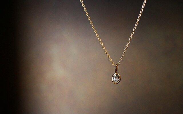 【送料無料】 クッションローズカットダイヤモンド 一粒ネックレス 【n_k14_004】の画像1枚目