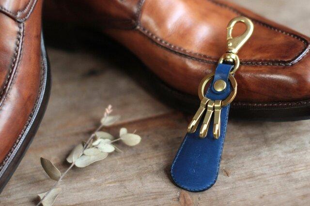 藍染革[migaki]  靴べら付キーホルダーの画像1枚目