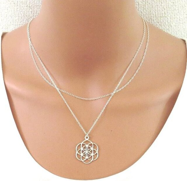 Silver 925 double layered seed of life necklace | 花ネックレスの画像1枚目