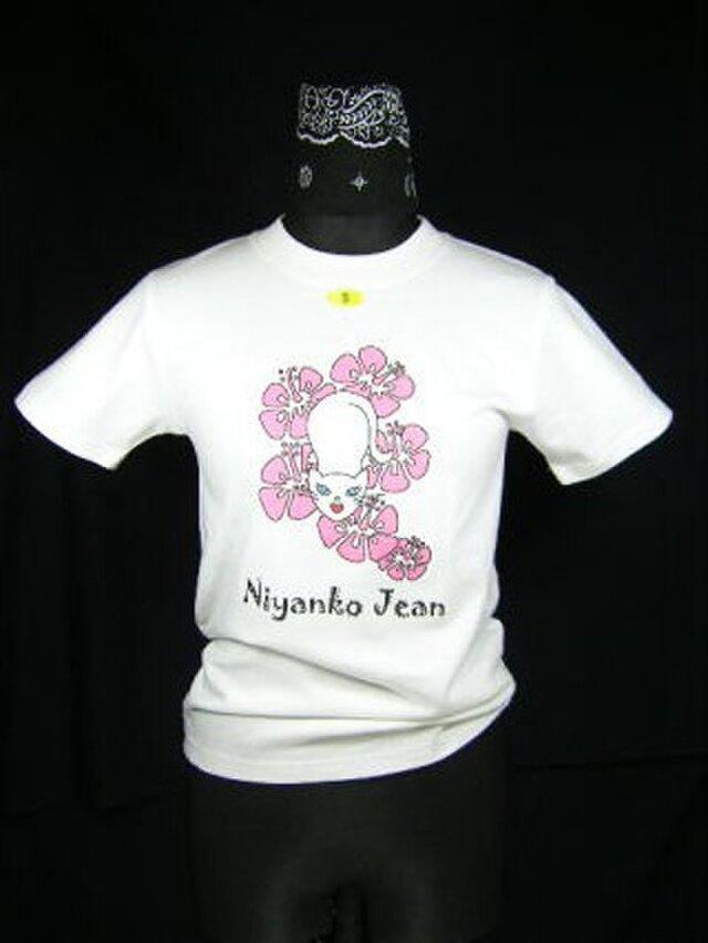 ★★★ピンクのハイビスカスと★白猫のTシャツ★新品★★★の画像1枚目