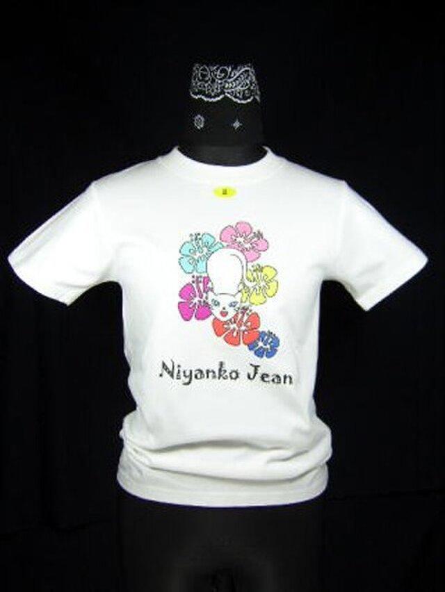 ★★★カラフルなハイビスカスと★白猫のTシャツ・新品★★★の画像1枚目