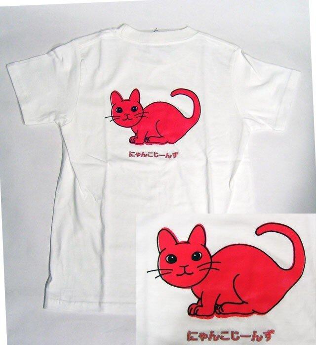 ★★★オリジナルデザイン★赤色の猫のTシャツ・新品★★★の画像1枚目