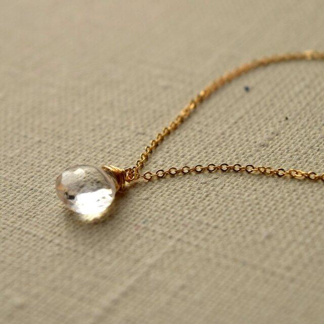 宝石質クォーツ(水晶)の一粒ネックレス 14KGF ゴールドフィルドの画像1枚目