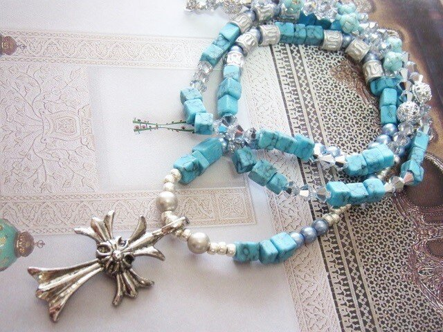 Cross+Turquoise☆Long Necklaceの画像1枚目