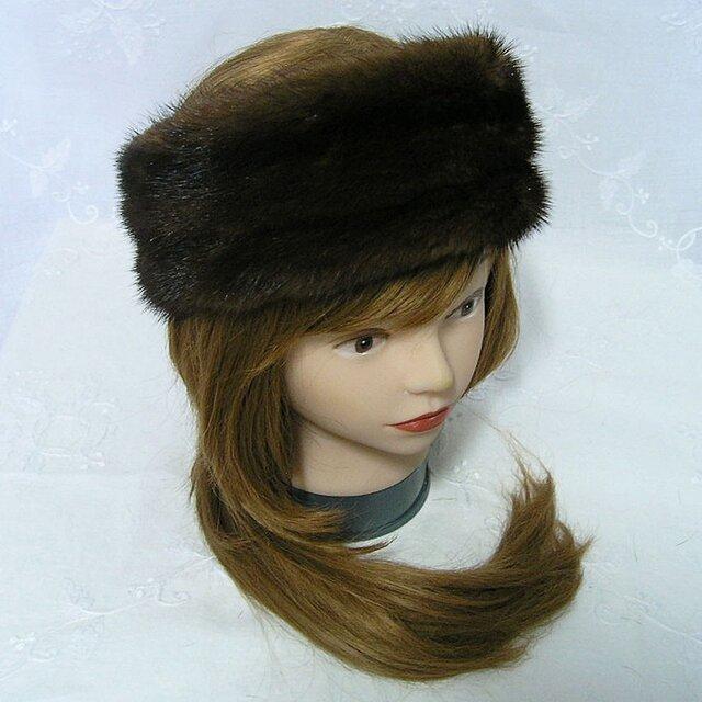 ¶ new antique fur ¶ スカンブラウンミンクファーヘッドバンド/スヌード2wayの画像1枚目