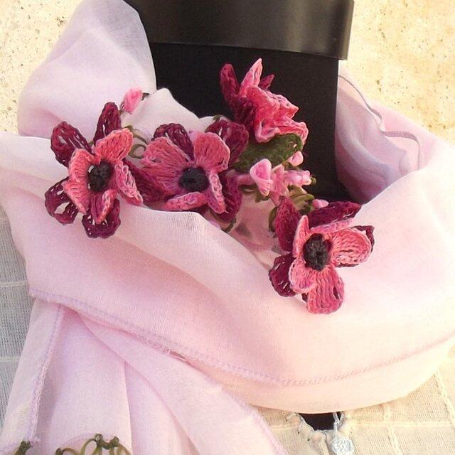 立体レース 花のコットンストール ベビーピンクの画像1枚目