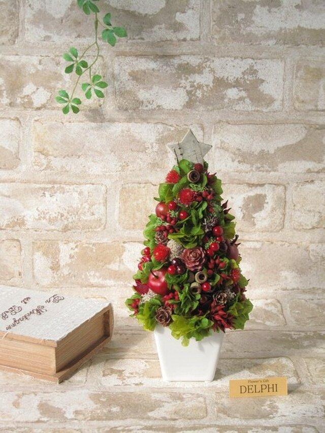 赤い実とあじさいのクリスマスツリー【プリザーブドフラワー】の画像1枚目