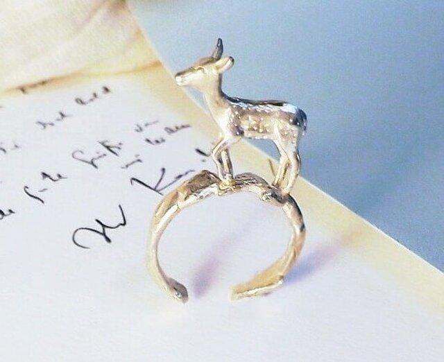 K10WG高原のバンビ子鹿オープンリングの画像1枚目
