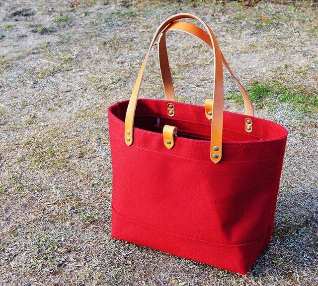 たっぷり容量6号帆布のトートバッグ~赤(倉敷帆布)~の画像1枚目