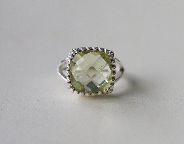 アラビアンスタイル レモンクオーツ 指輪 14号 SVの画像1枚目
