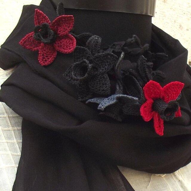 立体レース 花のコットンストール ブラックの画像1枚目