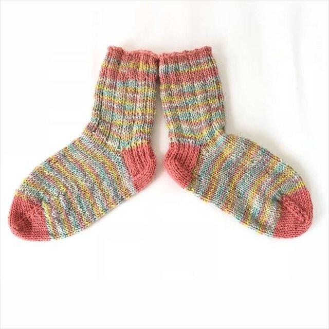 ウール手編み靴下【22~24cm】レインボーの画像1枚目