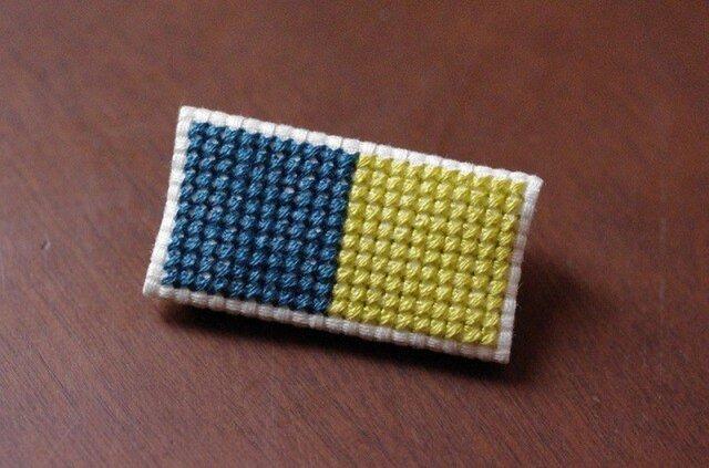 四角x2のブローチ / ティールブルーxライムグリーンの画像1枚目