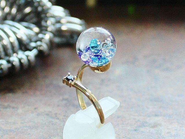 K18YG新作Bijou glass Ball Ringの画像1枚目
