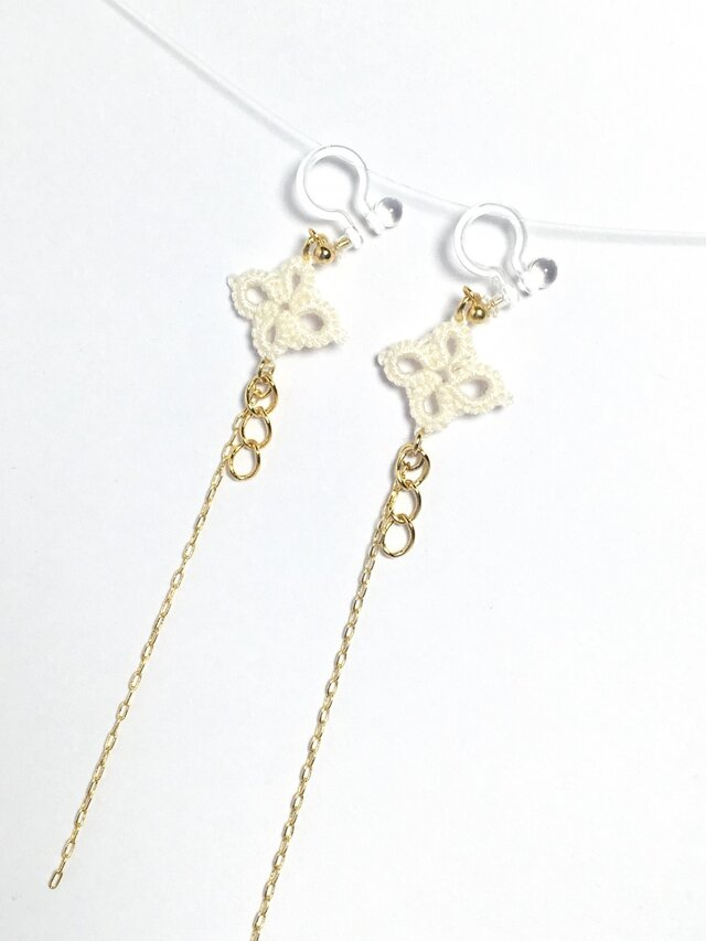 tatting lace long earring【gold chain】の画像1枚目