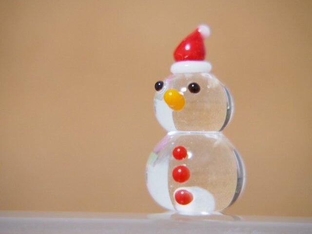 クリア雪だるまのミニミニオブジェ クリスマスぼうしの画像1枚目