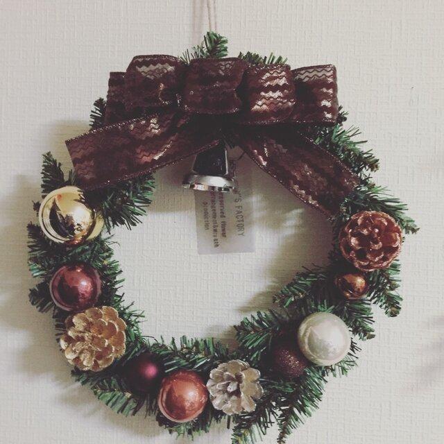 シックなブラウンのクリスマス・リース Lの画像1枚目