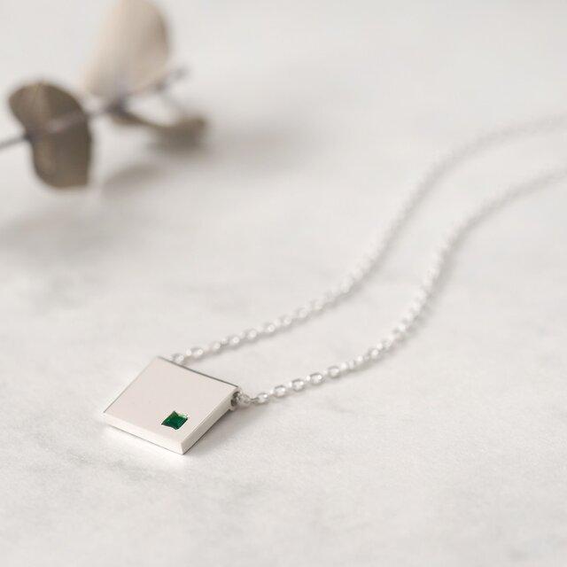 Emerald square エメラルド 四角 ネックレス シルバー925の画像1枚目