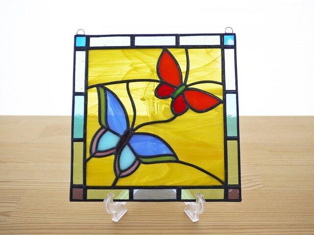ステンドグラス ミニパネル バタフライ 15cmの画像1枚目
