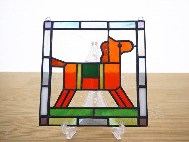 ステンドグラス ミニパネル 馬(d) 15cmの画像1枚目