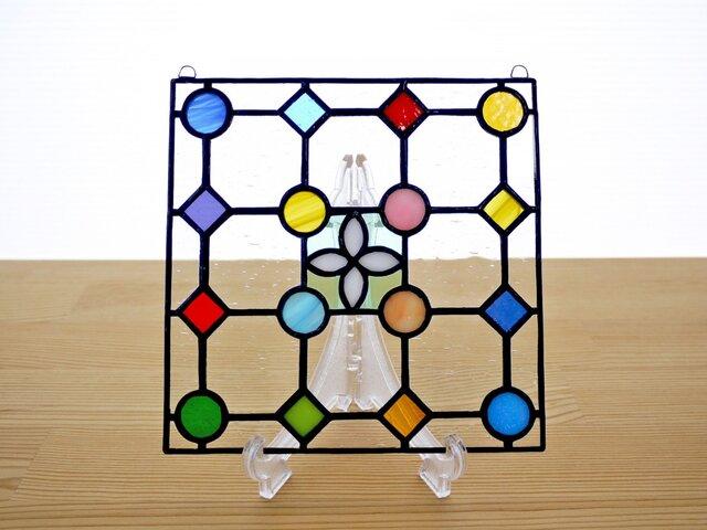 ステンドグラス ミニパネル ドットB白 15cmの画像1枚目