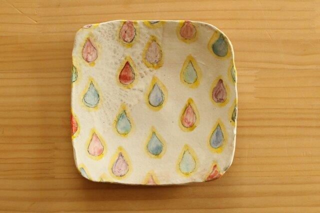 粉引きカラフルドロップに黄色いふちのトースト皿。の画像1枚目