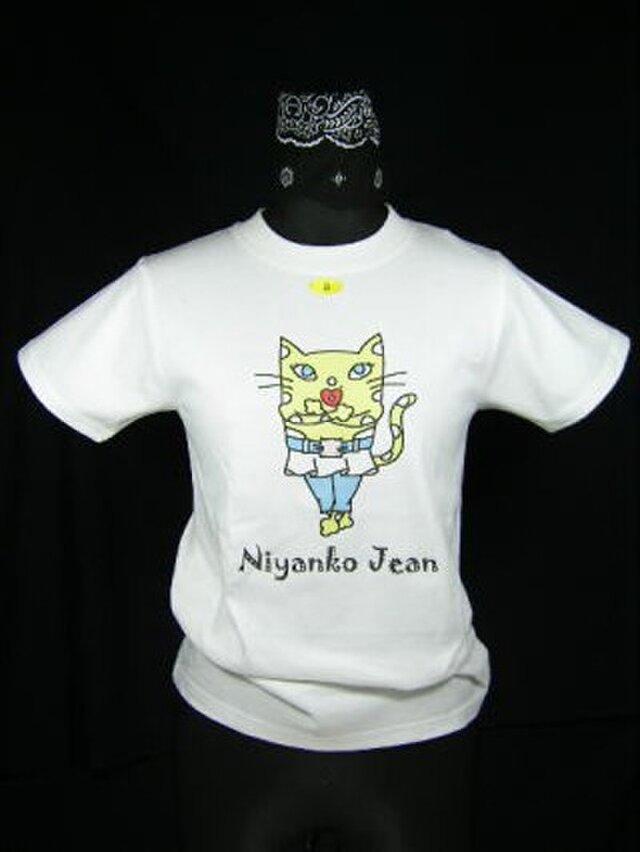 ★★巻きスカートにジーンズの★黄色い猫のTシャツ・新品★★の画像1枚目