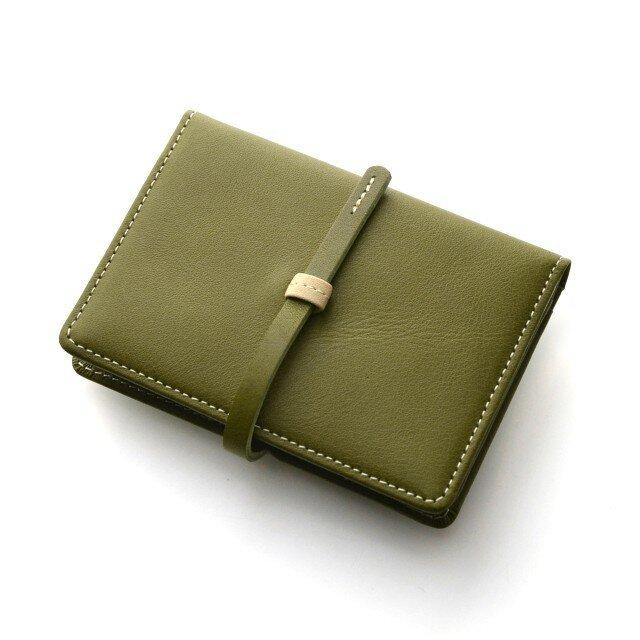 本革 名刺入れ レディース カーキ・グリーン ハンドメイド カードケース (カフェライフシリーズ)の画像1枚目