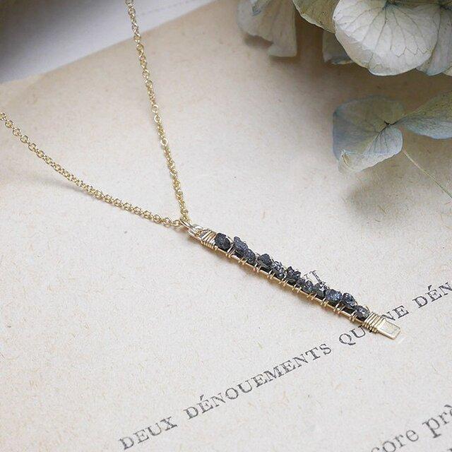 #199N★ブラックダイヤモンドの原石ネックレス14KGFの画像1枚目