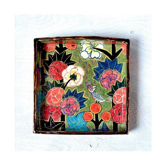 立葵と鳥の色絵箱皿(金継)の画像1枚目