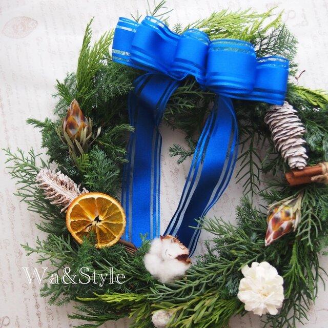 ◆2016Xmas◆森の香りのフレッシュリース(ブルーホワイト)の画像1枚目