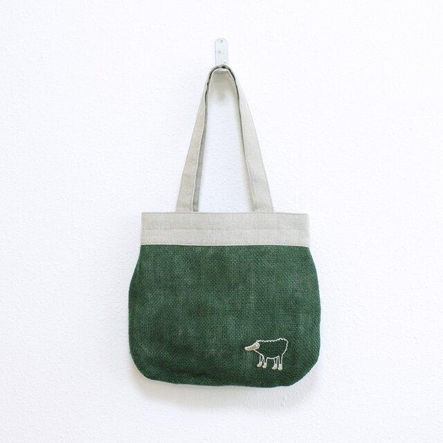 《受注制作》リラのドンゴロスのバッグ/緑の画像1枚目